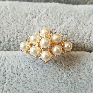 Anthropologie gold and pearl ring